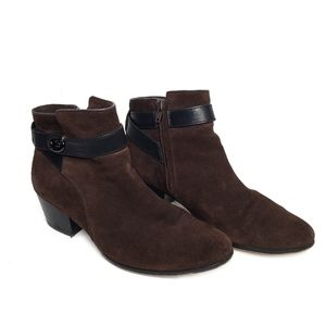 COACH Patricia Brown Ankle Buckle Suede Booties